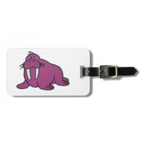 Purple Walrus Cartoon Drawing Luggage Tag