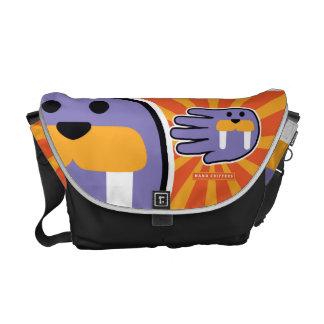 Purple Walrus Face Messenger Bags