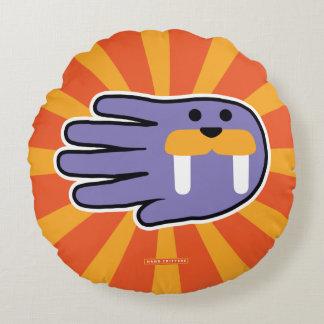 Purple Walrus Face Round Pillow