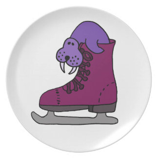 Purple Walrus in Ice Skate Dinner Plates