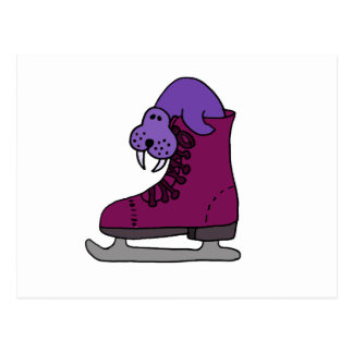 Purple Walrus in Ice Skate Postcard