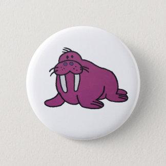 Purple Walrus Pinback Button