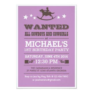 Purple Wanted Western Cowboy Birthday Invitation