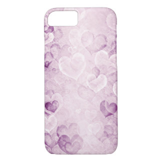 Purple washed out hearts design iPhone 7 case