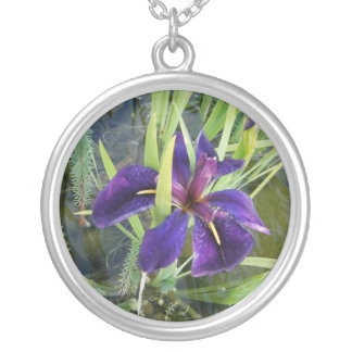 Purple Water/Black Gamecock Iris Silver Plated Necklace