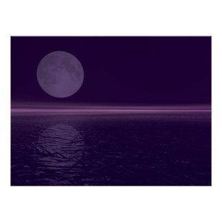 Purple Water Blue Moon Poster