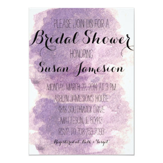 Purple Water Color Bridal Shower Invitation