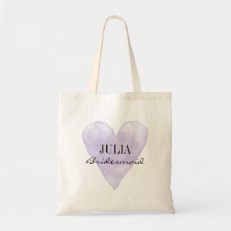 Purple water color heart bridesmaid tote bags