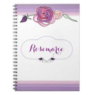 Purple Water Color Rose Notbook Notebook