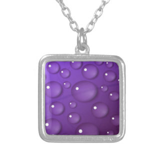Purple Water Drop Pattern Silver Plated Necklace