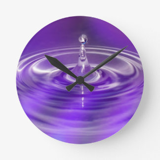 Purple Water Drop Round Clock
