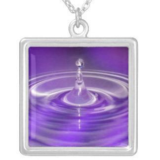 Purple Water Drop Square Pendant Necklace
