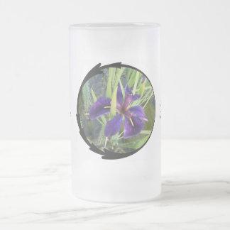 Purple Water Iris Bride Frosted Glass Beer Mug