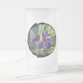 Purple Water Iris Frosted Glass Beer Mug