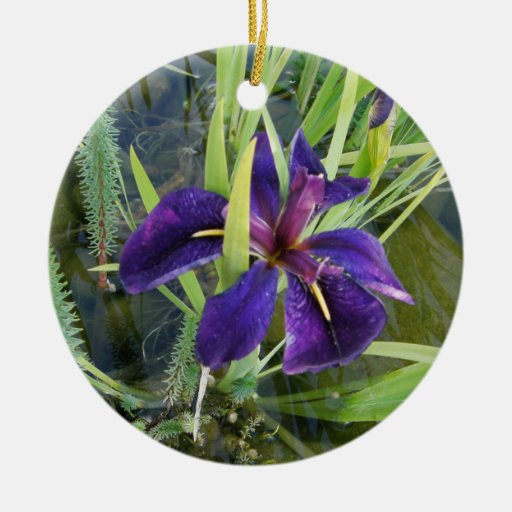 Purple Water Iris Double-Sided Ceramic Round Christmas Ornament