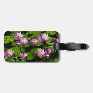purple water lilly luggage tag/ w leather strap bag tags