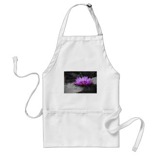 Purple Water Lily 002 Black and White Background Adult Apron