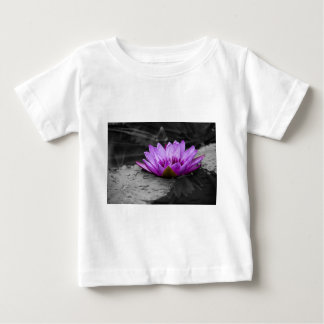 Purple Water Lily 002 Black and White Background Baby T-Shirt