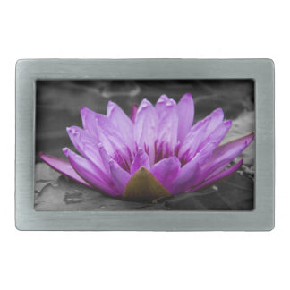 Purple Water Lily 002 Black and White Background Rectangular Belt Buckle