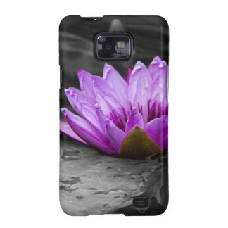 Purple Water Lily 002 Black and White Background Samsung Galaxy SII Cases