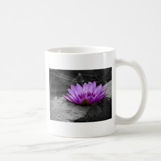 Purple Water Lily 002 Black and White Background Coffee Mug