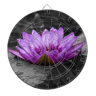 Purple Water Lily 002 Black and White Background Dartboards
