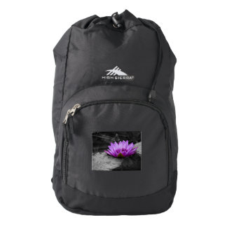 Purple Water Lily 002 Black and White Background High Sierra Backpack