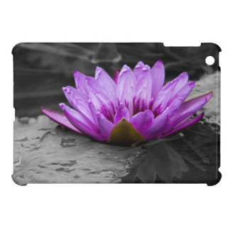 Purple Water Lily 002 Black and White Background iPad Mini Case