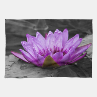 Purple Water Lily 002 Black and White Background Kitchen Towel