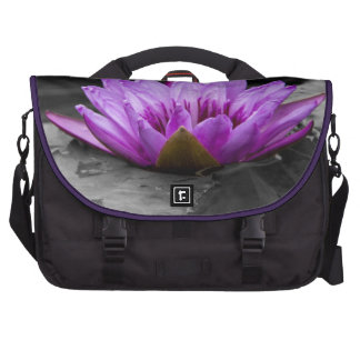 Purple Water Lily 002 Black and White Background Bag For Laptop