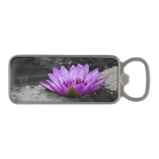 Purple Water Lily 002 Black and White Background Magnetic Bottle Opener
