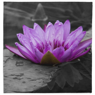 Purple Water Lily 002 Black and White Background Cloth Napkin