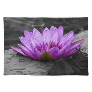 Purple Water Lily 002 Black and White Background Place Mat