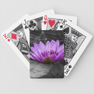 Purple Water Lily 002 Black and White Background Playing Cards