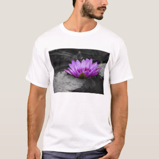Purple Water Lily 002 Black and White Background T-Shirt