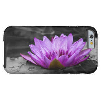 Purple Water Lily 002 Black and White Background Tough iPhone 6 Case