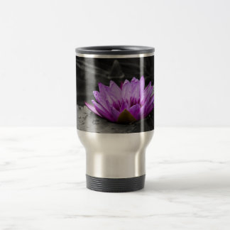 Purple Water Lily 002 Black and White Background Travel Mug