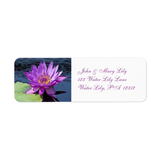 Purple Water Lily Avery Return Address Label
