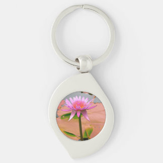Purple Water Lily Blossom Flowers Whimsical Custom Silver-Colored Swirl Metal Keychain