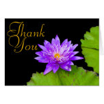 Purple Water Lily Color Chic Mod Floral Thank You Card