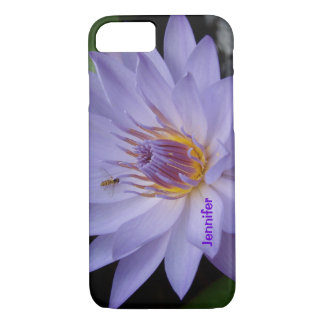 Purple Water Lily iphone Case Personalized Text
