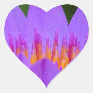 Purple Water Lily Lotus Heart Sticker