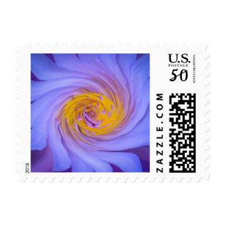Purple Water Lily Twirl Design Postage