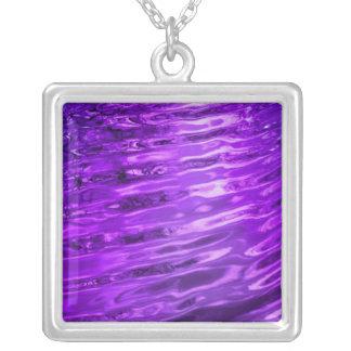 Purple Water Square Pendant Necklace