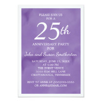 Purple Watercolor 25th Wedding Anniversary Party Card