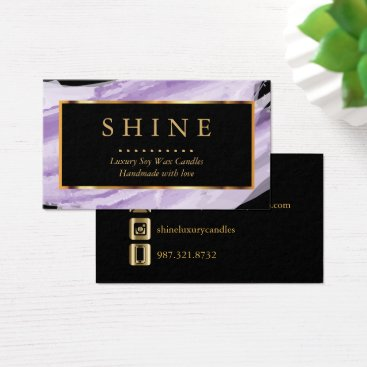 Professional Business Purple Watercolor and Gold Business Card