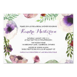 Purple Watercolor Anemone Bridal Shower Invitation
