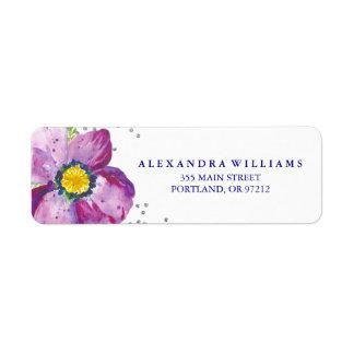 Purple Watercolor Anemone Flower Silver Glitter Label
