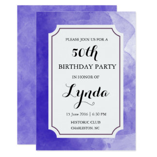 Purple Watercolor Birthday Invitation