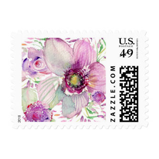 Purple Watercolor Blooms Postage